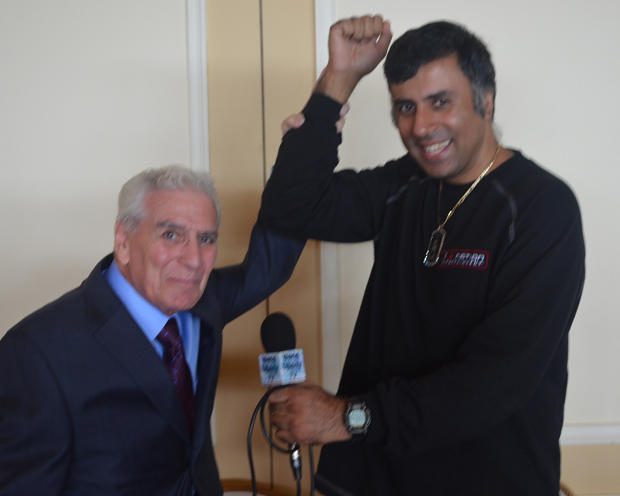 Dr Abbey Hands raised by Joe Santarpia, Professional Boxing Referee