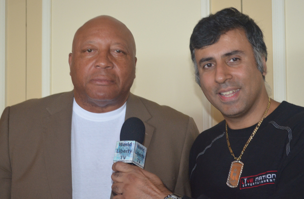 Dr Abbey with James Bonecrusher Smith Former Heavyweight Boxing Champion