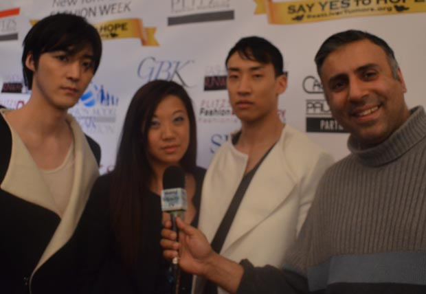Dr Abbey with Menswear Designer Janet Zheng and her models