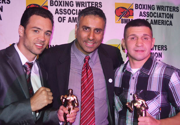 Dr.Abbey with BWAA Fighters of the year Pawel Wolak &  Delvin Rodriguez