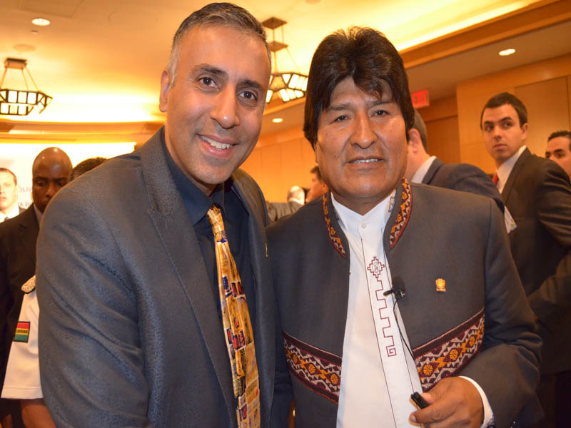 Dr.Abbey with Bolivian President Evo Morales Ayma