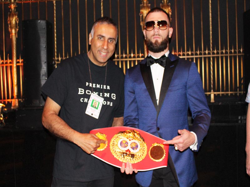 "Dr.Abbey with IBF Super Middleweight World Champion Caleb ""Sweet Hands'' Plant"