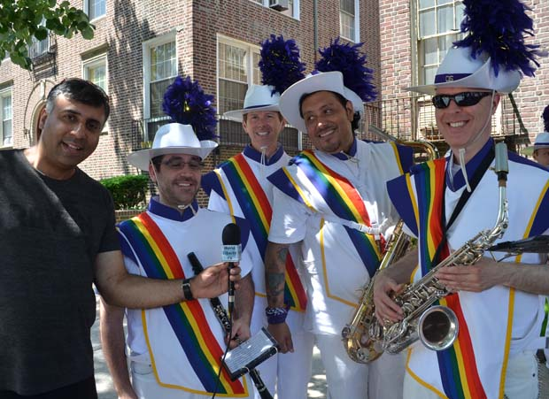 Dr.Abbey with LGBTQ Big Apple Corp Marching Band Members