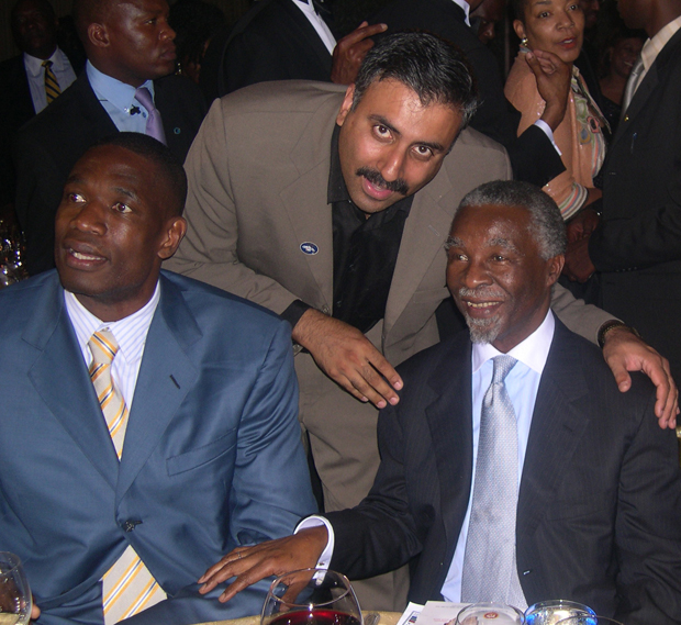 Dr.Abbey with President Thabo Mbeki of South Africa and Dikembe Mutombo NBA Player