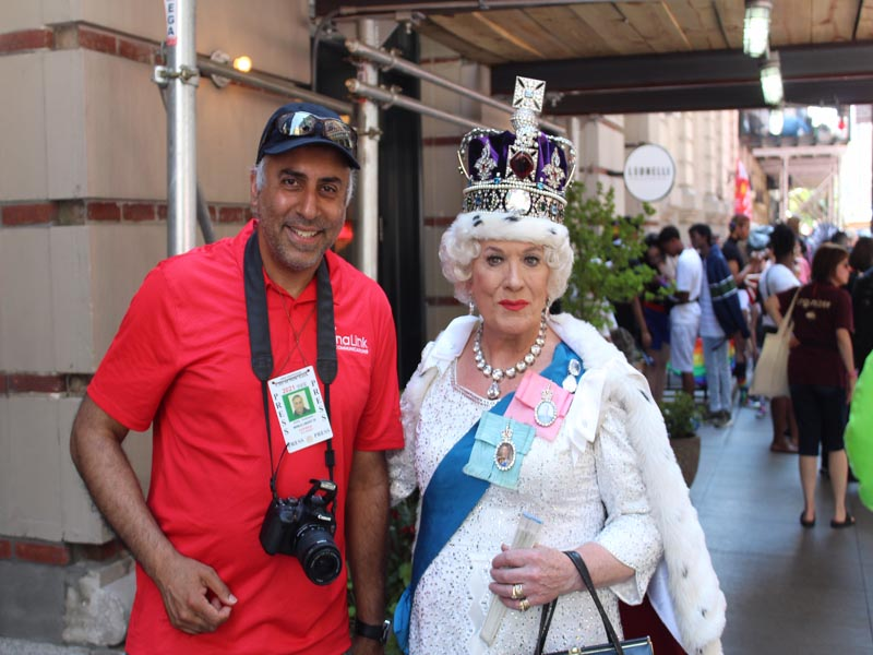 Dr.Abbey with Queen impersonator from England