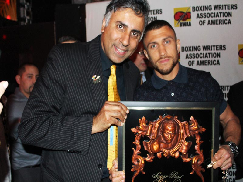 Dr.Abbey with Vasiliy Lomachenko Winner of The Sugar Ray Robinson Award for Fighter of The Year
