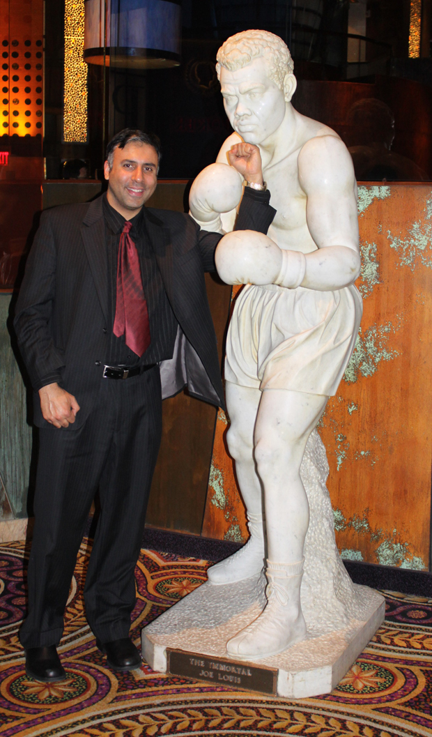 Dr.Abbey with a Statue of Joe Louis Boxing great