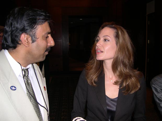 Dr.Abbey with Superstar Actress Angelina Jolie her charity work UNICEF, ONE Campaign, and UNHCR