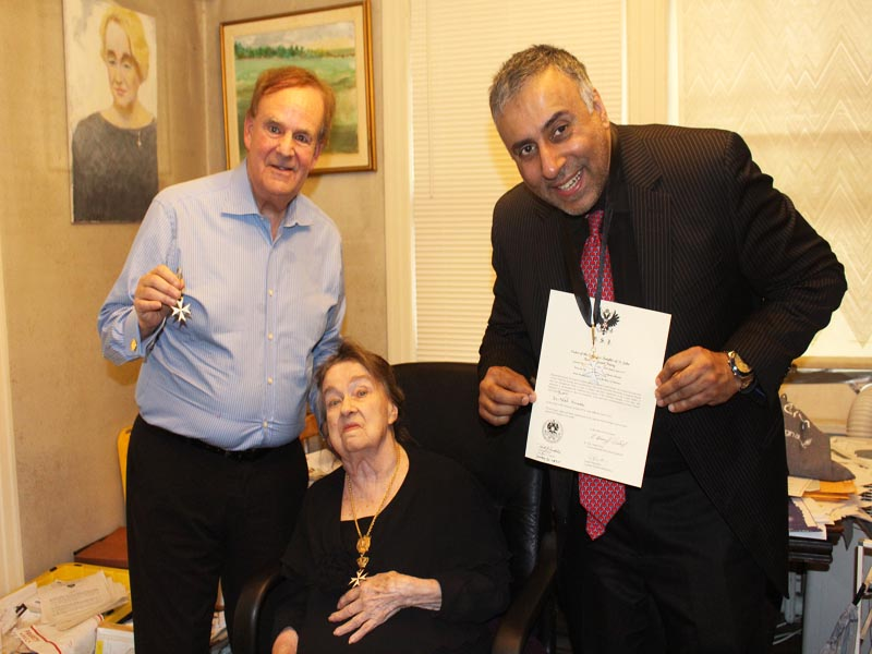 L-R Fellow Knight Alan Sands with Countess & Dr Adal