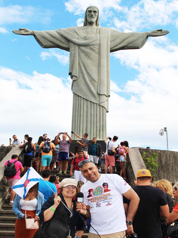 Dr.Abbey with Tour Guide Regina at Christ The Redeemer Statue 7th Wonder of the World Rio Brazil