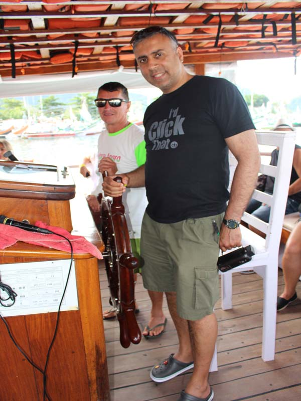 Dr.Abbey with the Captian of the Ship at Angra dos Reis Rio Brazil