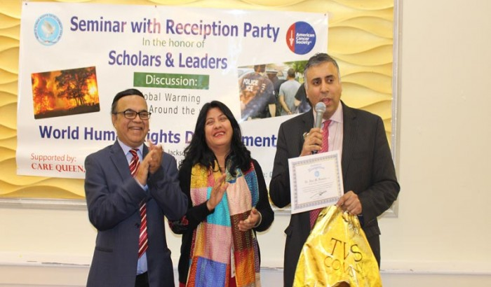 Dr Adal  Honored  & Keynote Speaker  about Global Warming @ World Human Rights & Development Inc-2019
