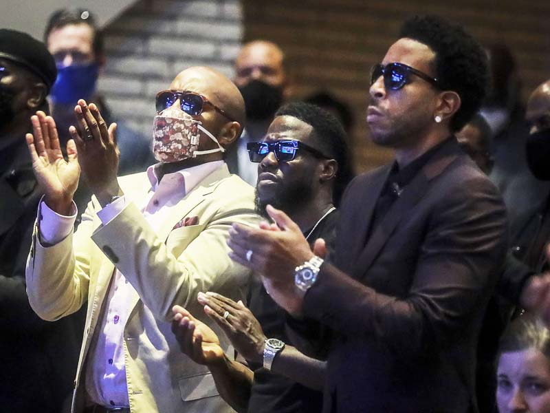 Kevin Hart and Ludacris attend George Floyd's Funeral