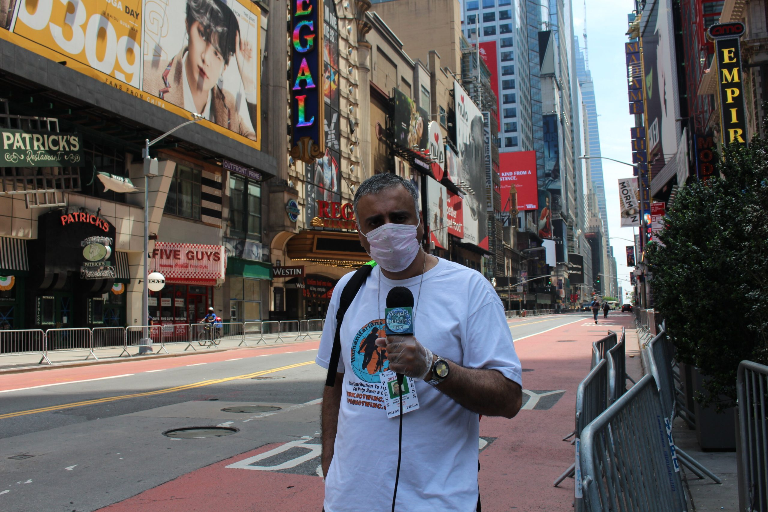 Dr Abbey Bringing Live News on WLTV During George Floyd Protests in Times Square NYC