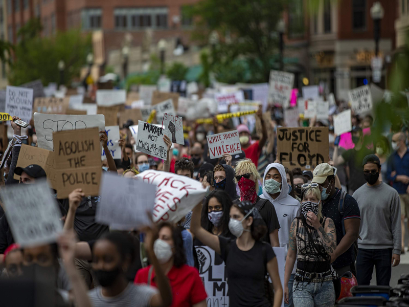 Thousand's Protesting in Boston During George Floyd's killing