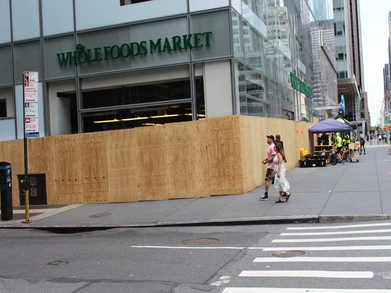Wholefoods in Times Square all Boarded up